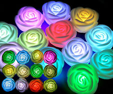 10 Pcs 7 Changing Color LED Rose Tea Light Party Candles Battery LED TOYS LOVELY