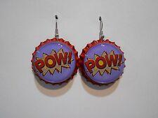 Super Hero Comic Book Sound effect POW Bottle Cap earrings!!