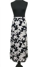 JAEGER jupe taille 12 rose & noir floral L36 designer boho long summer holiday