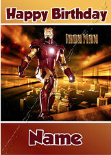 -  IRON MAN MARVEL AVENGERS  - ANY NAME ANY AGE CHILDREN'S BIRTHDAY CARD