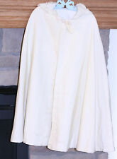 ANTIQUE CAPE CHILD'S IVORY ELASTICIZED RUFFLED HOOD WOOL FLANNEL RIBBON TIE GR8T