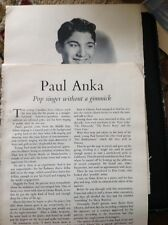 K3-7 Ephemera 1950s Film Article Paul Anka Pop Singer With A Gimmick