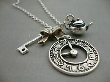Alice in Wonderland Antique Silver Plate Teapot Watch Clock Key Necklace Kitsch