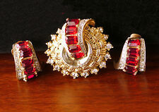 Stunning signed Coro Pegasus 1940s brooch/clip and earring set. Ruby rhinestones