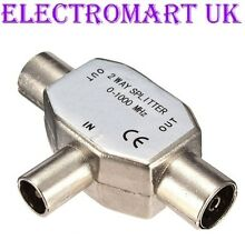 2 WAY DIGITAL TV FM RADIO COAXIAL COAX AERIAL ALUMINIUM Y SPLITTER