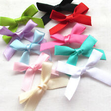 Upick 10/50/100/500PCS Satin Ribbon Flowers Bows Appliques Wedding Deco Mix