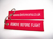 DeLorean Car, BTTF,Red Embroidered 'Remove Before Flight' Keyring, Keychain  x 1