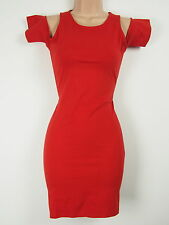 BNWT Motel Miley Cold Shoulder Red Bodycon Dress Size 14 Stretch