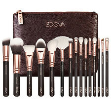 15PCS Zoe Make up Brush Set Foundation Eye face Brushes + Zipper Bag Rose Gold