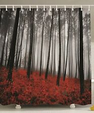 Beautiful Forest Designed Shower Curtain Grey Red And Black Tub Bathroom Decor