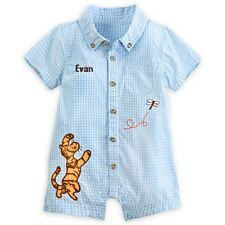 DISNEY STORE WINNIE TIGGER CLASSIC WOVEN ROMPER BABY 12/18 MOS ~ SO ADORABLE NWT