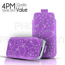 DIAMOND BLING LEATHER PULL TAB SKIN CASE COVER POUCH FITS VARIOUS APPLE MOBILES