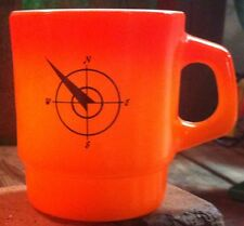Vintage Fire King Northwest Restaurant Ware D Handle Orange Stackable Mug Cup