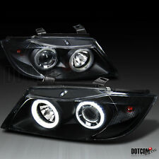 06-08 BMW E90 3-Series Black Dual Halo Ring Projector Headlights