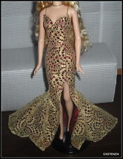 DRESS MATTEL BARBIE DOLL JAMES BOND 007 GIRL STUNNING GOLDEN RED LACE GOWN