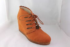 Womens F Troupe Slot Eye Wedge Tan Leather Boots - UK Size 7 * Ex Display