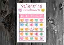 Valentine Sweethearts Valentines Party Game Bingo Cards on Card Stock 10/20/30ct