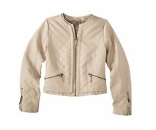 Xhilaration Womens Biker Jacket Spring Faux Leather Beige Junior S