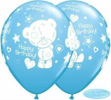 "11"" Baby Tiny Tatty Teddy Latex Happy Birthday Balloons Boy Blue Me To You 25pk"