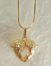 Gold Angel Wings Urn Locket w/Fillable Glass Orb | Angel Wing Necklace |Keepsake