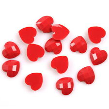 150pcs 241003 Scarlet Turtle Face Heart Charms Stick On Resin Beads Flatbacks