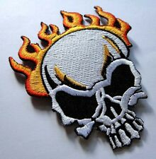 SKULL BURN ON FIRE MOTORCYCLE BIKER Embroidered Iron on Patch + Free Shipping