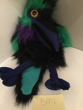 THE PUPPET COMPANY SOFT TOY GREEN Black PARROT MACAW BIRD WITH SQUAWK Plush