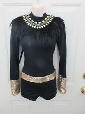 Black Gold Feather Egyptian Indian Dance Costume Large Child LC