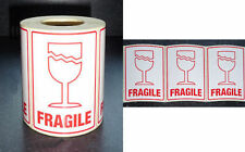 "500 Large FRAGILE Labels 75x105mm (3"" x 4"")  Top Quality (with Glass) Sticky"