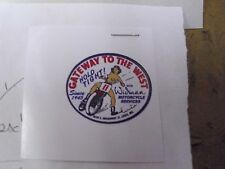 "THE RACING LADY,GATEWAY TO THE WEST,WIDMAN MOTORCYCLE,STICKER,1 7/16""x 1 3/16""!"