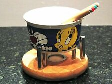 Looney Tunes Low Temp Fondue Pot Solid Wood Base Great For Melting Chocolate