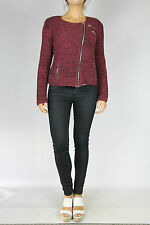 SPORTSGIRL Wine Cable Knit Moto Jacket Size M (10)