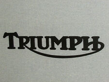 "Large 24"" Wood Triumph Motorcycle Laser Cut Black Swooping R Sign"