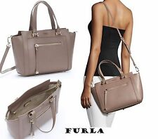 NWT $448 FURLA Saffiano Leather Medium Ginevra Satchel Bag in Daino