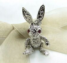 Silver Color Rabbit Swarovski Element Austrian Crystal Rhinestone Brooch Pin