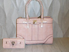 GUESS Greyson Reptile Embossed Tote Large Satchel Handbag & Wallet gift set Pink