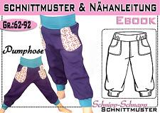pdf.Schnittmuster und Nähanleitung Pumphose mit Taschen Gr.:62-92
