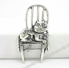 PJ383 Tibetan Silver Charm Cat chair Accessories Beads Wholesale 5pc
