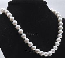 "12mm South White Sea Shell Pearl Round Beads Necklace 24""AAA"
