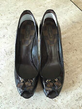 Louis Vuitton Black Patent size 8.5 Peep-toes Wooden Stacked Heels Dice at toes