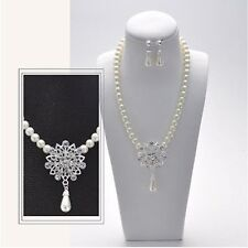 White Pearl Crystal Bridesmaid Bridal Wedding Statement Necklace Earrings Set