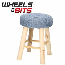 2x New Designer Chic Foot Stool Cover in a padded Grey Knitted 31x43Cm Round