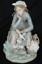 LLADRO 1211 Girl with Doll and Basket Bread Apples Porcelain Figurine  02317