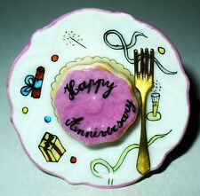 "LIMOGES BOX - ""HAPPY ANNIVERSARY"" CAKE ON A PLATE & FORK - CHAMPAGNE & CONFETTI"