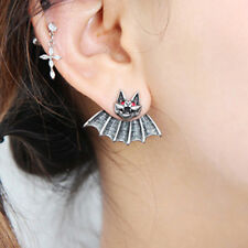 Popular Crystal Piercing Stainless Steel Bat Batman Logo Ear Studs Earrings