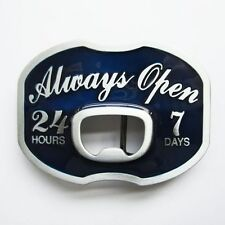 NEW ALWAYS OPEN BOTTLE OPENER BEER BLUE BELT BUCKLE