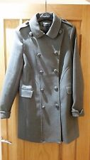NEW FCUK French Connection Winter Double Breasted Coat UK 12 - 10 Wool