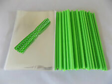 "50 x GREEN CAKE POP KIT 6"" LOLLY STICKS 4""x 6"" EASTER CELLO BAGS & POLKA TIES"