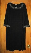 WOMENS PLUS SIZE BLACK W/SILVER STUDDED NECKLINE AND SLEEVES DRESS SIZE 3X