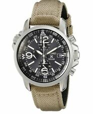 Seiko SSC293 Solar Chronograph Black Dial Beige Canvas Strap Prospex Mens Watch